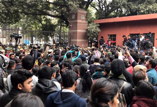 A protest outside the JNU Gate against the violence that broke out inside the campus premises on January 5