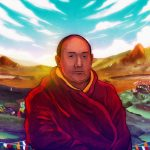 Phuntsok Wangchuk, a Buddhist monkguides and cares for pilgrims that visit the sacred wetlands part of the Bhagajang Wetland Complex in Arunachal Pradesh. The high altitude wetlands that have ecological and cultural significance werebeing impacted by tourism. Illustration by Kowsick Borgohain for Mongabay.